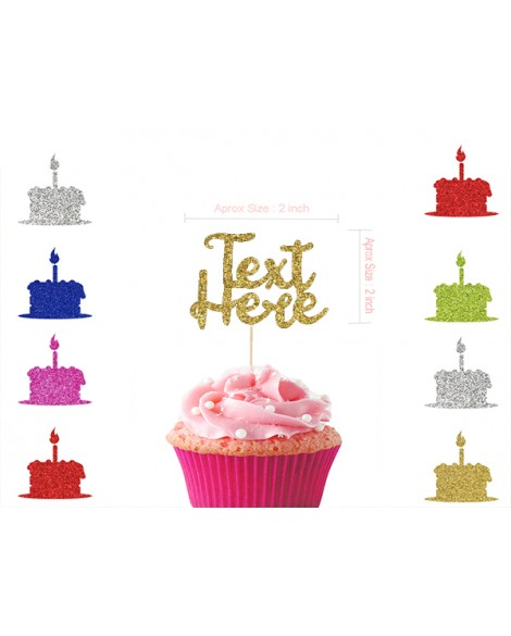 Personalised Glitter Happy Birthday Cupcake Any Name Any Age Cupcake Toppers