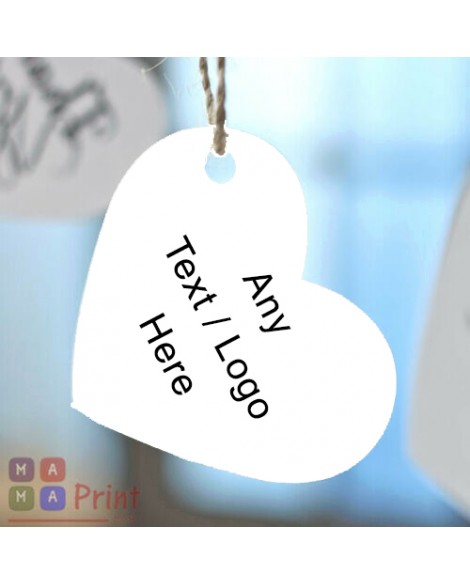 Personalised  Heart Tags for Business ❤ Personalised with ANY TEXT or Logo