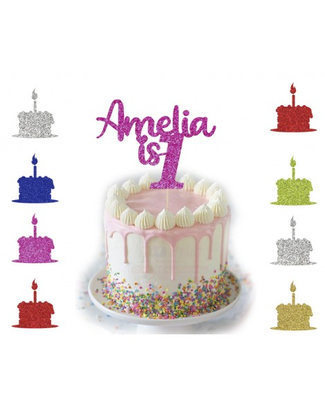 Personalised Glitter Happy Birthday Cake Topper Custom Party Any Name / Number