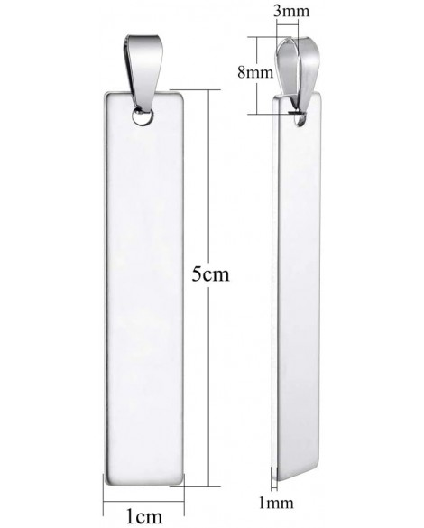 Personalised Engraved Custom Name Bar Letters Stainless Steel Necklace Rectangle Charms Pendant