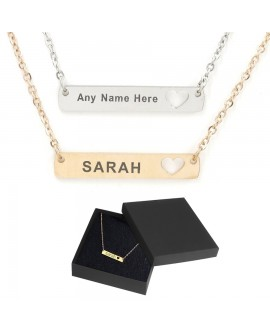 Personalised Name Horizontal Rectangle Bar Necklace Custom Engraved Jewellery Gift Stainless Steel UK