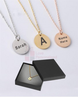 Personalised Name Round Necklace Custom Engraved Jewellery Gift Stainless Steel