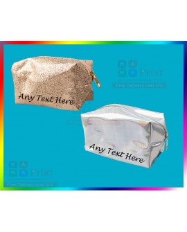 PERSONALISED MAKE UP BAG   Glitter Bag Gift Women Birthday Mum Gift ANY NAME
