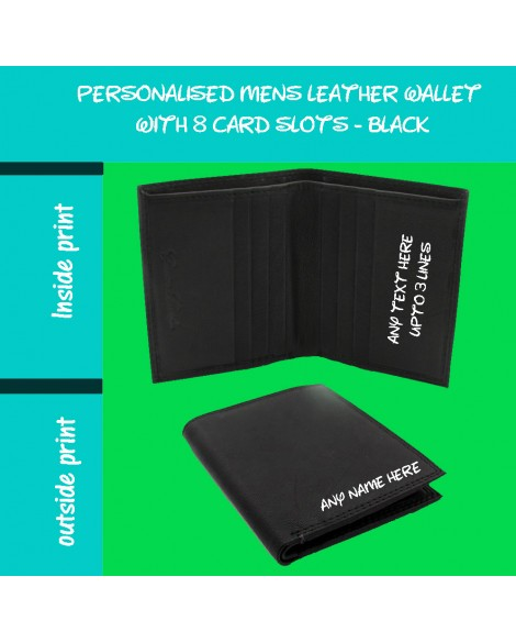 Mens Personalised Printed Quality Soft Black Leather Credit Card Coin Wallet