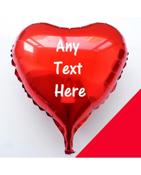 "Personalised 18"" Heart Foil Helium Balloon Any Text - Choice of colours"