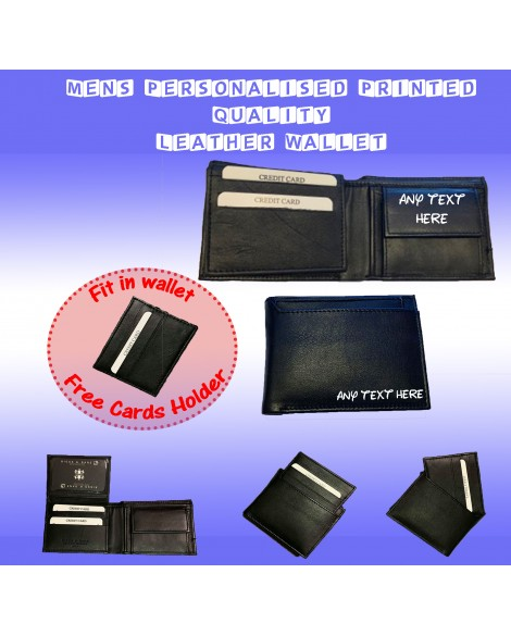 Mens Personalised Printed Quality Soft Black Leather Wallet with Card Holder