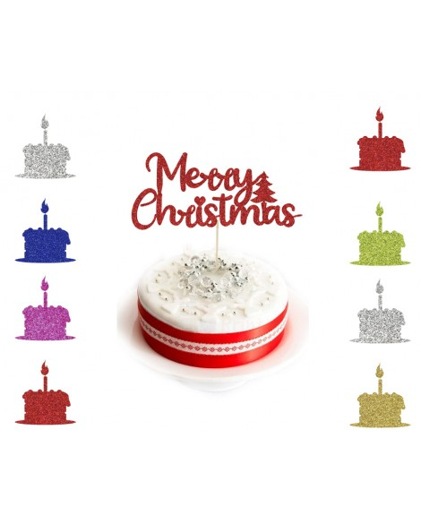 Personalised Glitter Christmas Cake Topper xmas Party Decoration